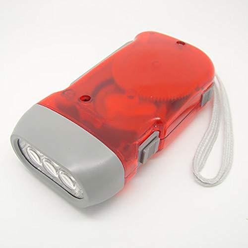 Mayyou Mini Dynamo-Taschenlampe mit 3 LEDs, zum Aufziehen, Handdrücken, Kurbel für Outdoor-Sportarten und Camping rot