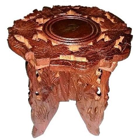 Quemador de aceite decorativas talladas a mano artesanal con incrustaciones de latón mesa pequeña
