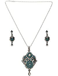 DzineTrendz Silver Plated Faded Antique Finish, Turquoise Blue CZ And Pearl CZ Stylish Fashion Pendant Set Necklace...