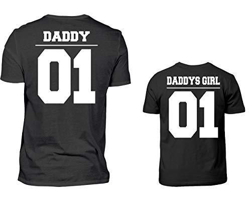 Daddy Hoodie (Vater Tochter Partner Look Tshirt Daddy 01 Daddys Girl 01 Rundhals Papa Kind Partnerlook Für Herren Und Tochter In Schwarz (M & 12/14 (152/164)))