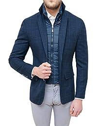 Evoga Giacca Uomo Sartoriale Blu Quadri Elegante Invernale con Gilet Interno 9ea59b32d20