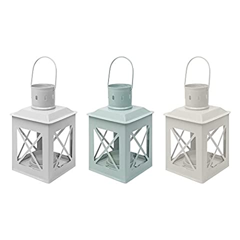 Set of Three (3) New England Shabby Chic Small Metal Garden Lanterns / Table Tealight Lamps in Pastel Colours with 20 Select Homeware Tealight