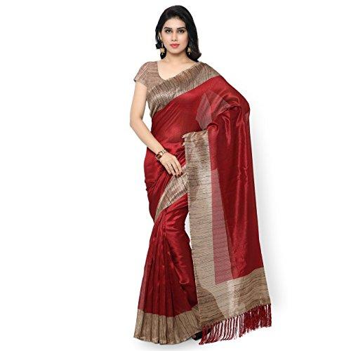 Rajnandini Women's Tussar Art Silk Saree (Joplnb3006, Maroon, Free Size)