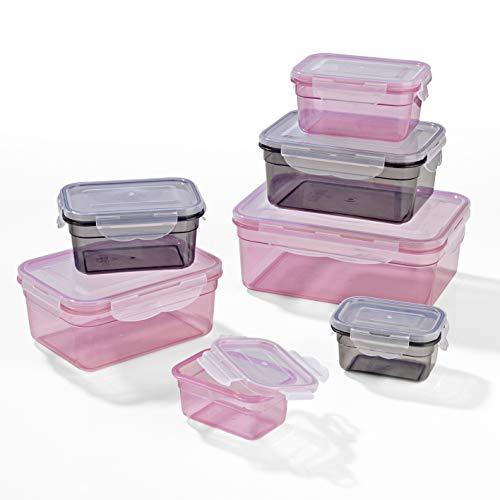 GOURMETmaxx 02914 Frischhaltedosen Klick-it, 14 Teile, Geeignet für Mikrowelle, Gefrierschrank und Spülmaschine Rosa Küche