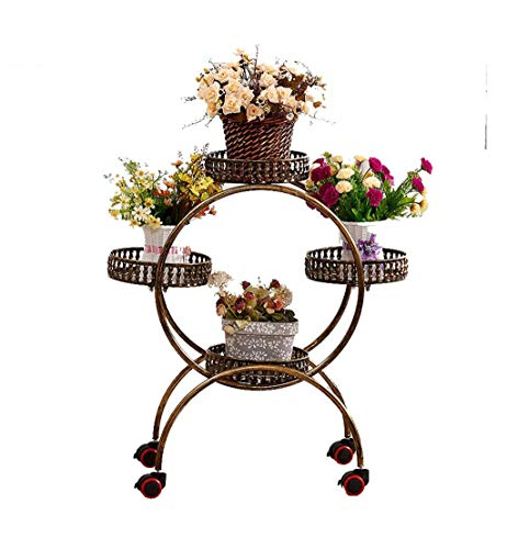 GWFVA Planter Planter Nordic Style Iron Art 4 Pots Flowerpot Flower Stand Flower Pot Tray Holder Tray Stand Forged Metal Indoor Living Room Floor Balcony Standing Flower Stand Removable with -