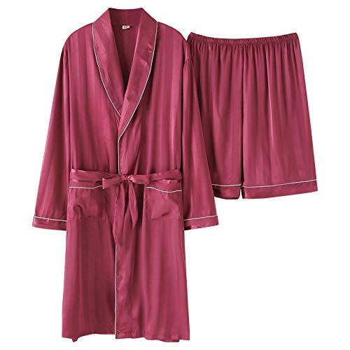 Pijamas Hombres Bata De Seda Bata Corta Pantalón