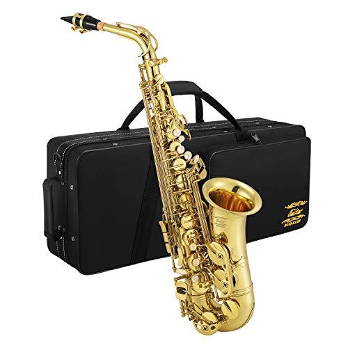 Eastar Altsaxophon AS-Ⅲ Commander E Flache Saxophon mit Tragetasche Reinigungstuch Korkfett Handschuhe Gurt Saxophonständer