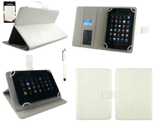 Emartbuy® AlpenTab 7 Zoll Tablet PC Universalbereich Weiß Multi Winkel Folio Executive Case Cover Wallet Hülle Schutzhülle mit Kartensteckplätze + Weiß Eingabestift