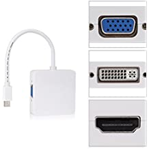 BlueBeach - Mini DisplayPort (3 en 1) Thunderbolt a HDMI / DVI / VGA Display Adapter Cable Puerto para Apple Mac Book Pro MacBook MacBook Air Mac mini, adaptador 3 en 1 mini DP a DVI + HDMI + DisplayPort DP Converter para Apple Mac
