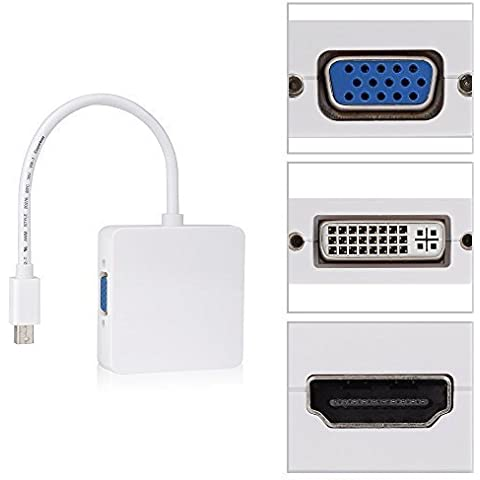 BlueBeach - Mini DisplayPort (3 en 1) Thunderbolt a HDMI / DVI / VGA Display Adapter Cable Puerto para Apple Mac Book Pro MacBook MacBook Air Mac mini, adaptador 3 en 1 mini DP a DVI + HDMI + DisplayPort DP Converter para Apple