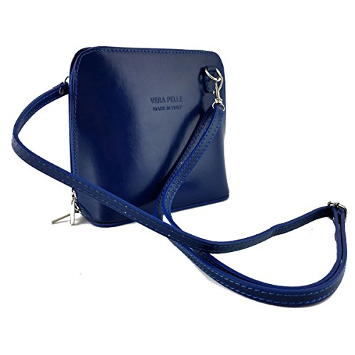 Borsa Donna A Tracolla In Pelle Colore Blu - Pelletteria Toscana Made In Italy - Borsa Donna