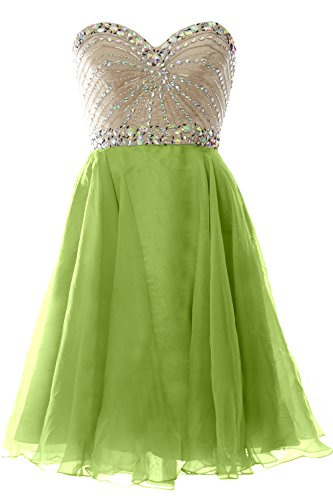 MACloth 2016 Women Strapless Chiffon Short Prom Dress Wedding Party Formal Gown Olive Green