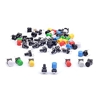 cylewet 35pcs 6× 6× 9mm Taktile Tact Push Button Switch MICRO SWITCH Touch Schalter mit Knopf Kappen von 7Farbe für Arduino (35Stück) clw1052