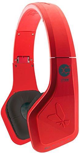 Vibe FLI On-Ear Leicht Kopfhörer Headphones mit Integriertem In-Line Mikrofon - Rot