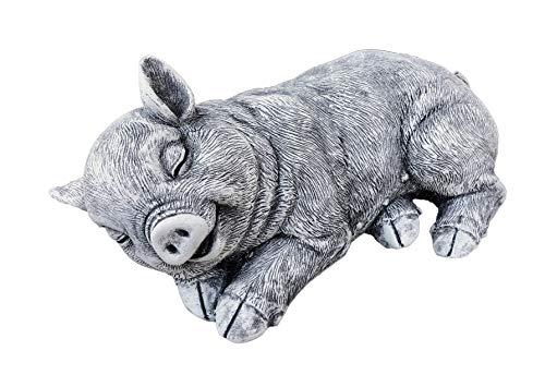 Stone and Style Steinfigur Schwein Schweinchen, massiver Steinguss, Frost- und wetterfest bis -30°C