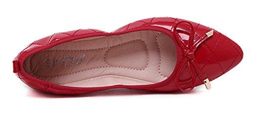 Aisun Femme Confortable Talon Plat Bout Pointu Ballerines Rouge