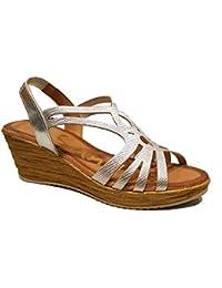 Oh my Sandals - Sandalia de Piel con cuña - Plata - 3667