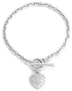 "Carissima Gold 9ct White Gold 0.10ct Diamond Pave Heart T-Bar Bracelet of 18cm/7"""