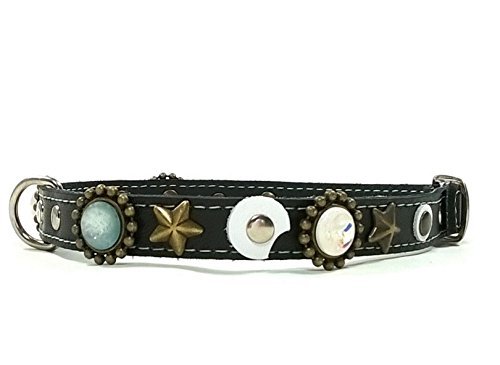 Schwarz Leder Hundehalsband für Kleine Hunde und Chihuahuas - Ausgefallene Schmuck Steine und Mond Form Lederstuecke (Bandera Leder)