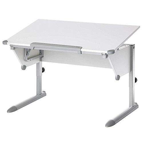 Kettler Cool Top II Kinderschreibtisch – höhenverstellbarer Schülerschreibtisch MADE IN GERMANY – hochwertiger Schreibtisch für Kinder – flexibel einstellbar – weiß & silber