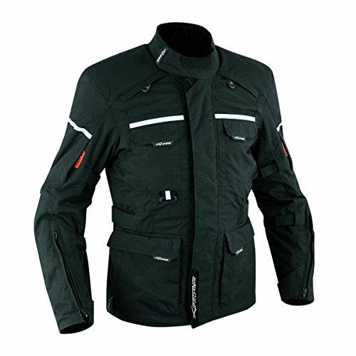 Giacca-Tessuto-Moto-Impermeabile-Termica-Sfoderabile-Touring-Cordura-Nero-L