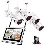 All-in-1 WLAN Überwachungskamera Set mit 12 Zoll LCD Monitor, ANRAN 4ch 1080p WiFi Überwachung DVR Kits mit 4PCS 2.0MP CCTV IP Kameras 1TB Festplatte Innen und Außen Remote Access Motion Detection