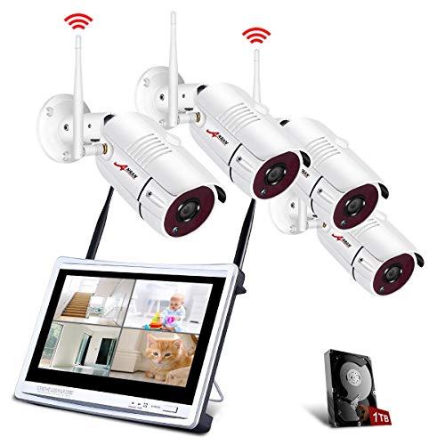 Tout-en-Un Système de Caméra Sécurité avec 12Pouce LCD Moniteur, Vidéo Caméra sans Fil, 4CH 1080p WiFi Kit de DVR Surveillance avec 4pcs 2.0MP CCTV IP Caméra, Intérieur et Extérieur, 1TB Disque Dur