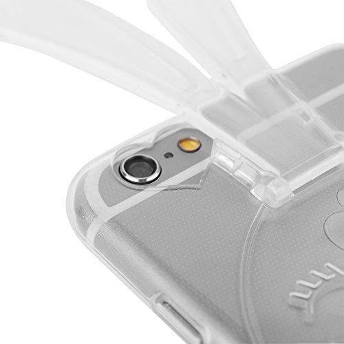 EGO ® Transparent Silikon TPU 3D Schutz Hülle + Panzerglas für iPhone 5 5S SE Gold Hasenohren Back Slim Case Crystal Soft Ultra Dünn Bunny Hase durchsichtig + Glas
