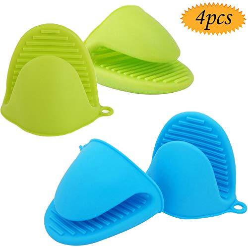 Bluesees, mini presine da forno in silicone, resistenti al calore, set da 4 (2 blu + 2 verde)