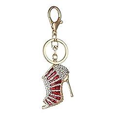 Idea Regalo - Hacoly scarpa con tacco alto portachiavi creativo di cristallo con strass portachiavi pendente chiave dell'automobile per il regalo di San Valentino di Natale - 11cm (Rosso)