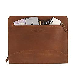 Zippered Leather Business Portfolio | Padfolio | Document Organizer |Folder for Men Women for Office | Interview can hold A4 Size papers compatible with 11 inch ipad Tablets Handmade - Brown