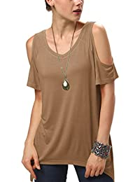 Urban GoCo Femmes Casual Grande Taille Hors épaule T-Shirt V-col Manches Courtes Tops