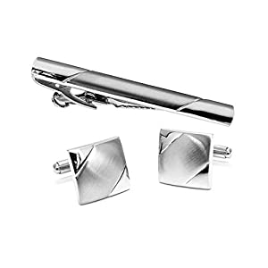 HONG-Accessories Herren Manschettenknöpfe Krawattenklammer einfach