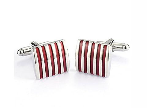 5-Strip Red Enamel Cufflinks with Presentation