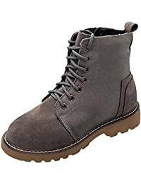 0c2c788d6 Womens Chelsea Martin Boots Ladies Solid Flat Anti Slip Lace Up Zipper Ankle  Boots Warm Winter PU Canvas Riding…