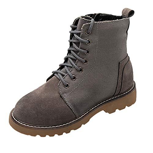 UFACE Frauen Klassische Runde Zehe Schuhe Flachriemen Quadratische Ferse Rutschfeste Martin Stiefel