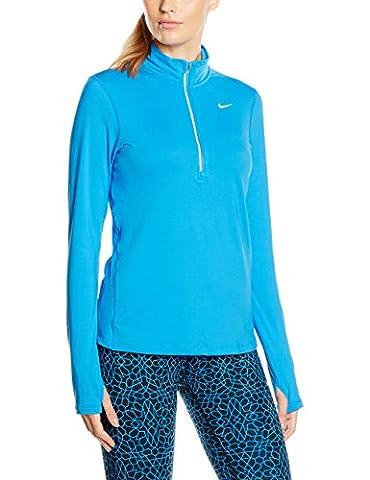 Nike - Element Half Zip - Top à manches longues - Femme - Bleu (Lt Photo Blue/Reflective Silv) - Taille: XL