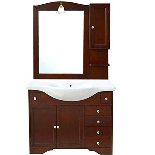 Mobile bagno monique lavello integrato specchio 105 cm legno noce arte povera