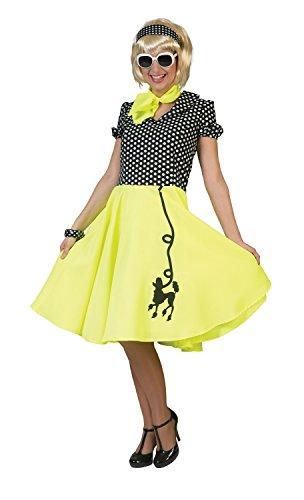 Damen Kleid und Schal, 50er-Jahre-Stil, gepunktet, Pink/Gelb / Blau/gepunktet, für Junggesellinnenabschied/Rock N Roll Mädchen, Kostüm, Outfit, Gelb
