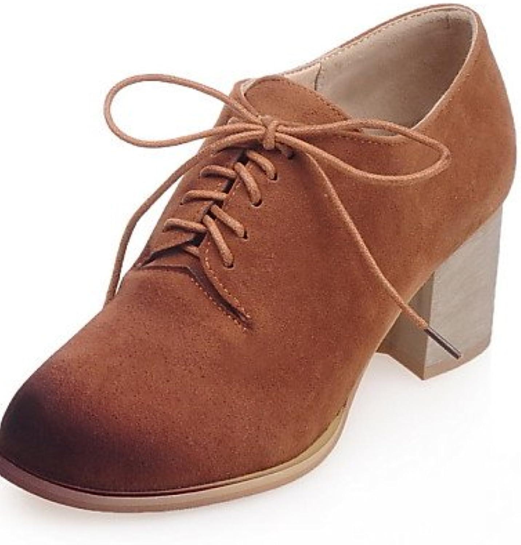 ZQ hug Zapatos de mujer-Tacón Robusto-Tacones-Tacones-Casual-Semicuero-Gris / Caqui , gray-us10.5 / eu42 / uk8.5...