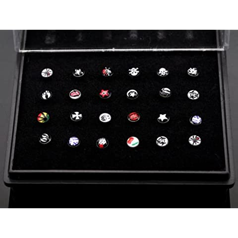 Imixlot Wimen's Star Moon and National Flag 24pcs Enamel Nose Stud With Display Pad Body Jewelry Piercing Alloy by imixlot