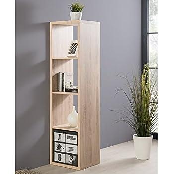 001220 max 4er eiche s gerau dekor raumteiler regal stauraumregal b cherregal b roregal amazon. Black Bedroom Furniture Sets. Home Design Ideas