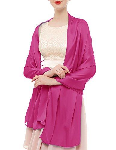 bridesmay Seide Halstuch 180 * 90cm Stola Schal Seidenschal Festlich Hochzeit für Kleider in verschiedenen Farben Rose