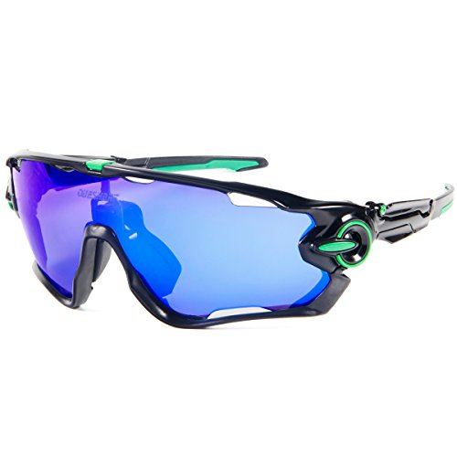 Queshark polarizzati sport gli occhiali da sole per uomini donne con 3 lenti intercambiabili per guidare il baseball in bicicletta a sciare a pescare gli ciclismo occhiali (color 11 blu lente)