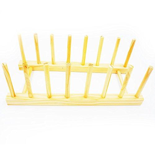 Garcoo Égouttoir à vaisselle en bois durable Plat/support de séchage/polyvalent plaque Égouttoir à ustensiles/couvercle de casserole et argenterie support