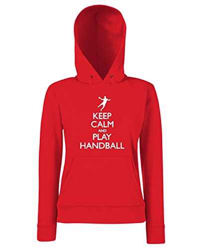 T-Shirtshock - Sweats a capuche Femme SP0096 Keep Calm And Play Handball Maglietta Rouge