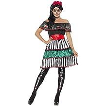 0a4f2891c Smiffy S 48077L Disfraz De Señorita Del Día De Muertos Con Vestido  Cinturón
