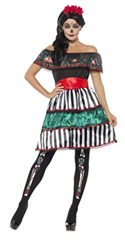 Smiffys Damen Tag der Toten Senorita Puppen Kostüm, Kleid, Gürtel und Kopfband, Größe: 40-42, 48077
