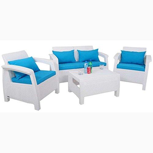 JUSTyou Corfu Set Wasser Sitzgruppe Gartenmöbel Gartengarnitur 2x Sessel + 1x Sofa + Tisch Weiß Blau