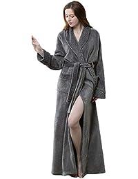 3ad1ca12cb Women Winter Long Bathrobe Soft Warm Ladies Luxury Fleece Dressing Gown  White Grey